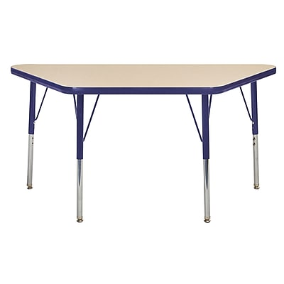 "24""x48"" Trapezoid T-Mold Activity Table, Maple/Navy/Toddler Swivel"