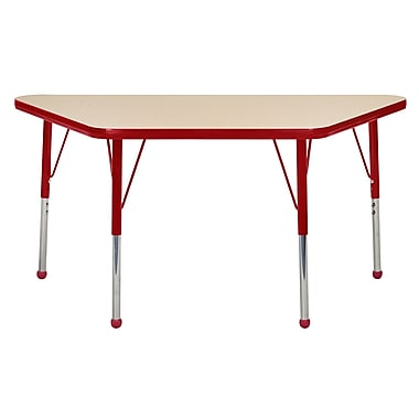 """24""""x48"""" Trapezoid T-Mold Activity Table, Maple/Red/Standard Ball"""
