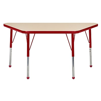 "24""x48"" Trapezoid T-Mold Activity Table, Maple/Red/Toddler Ball"