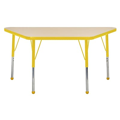 "24""x48"" Trapezoid T-Mold Activity Table, Maple/Yellow/Standard Ball"