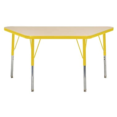 "24""x48"" Trapezoid T-Mold Activity Table, Maple/Yellow/Toddler Swivel"