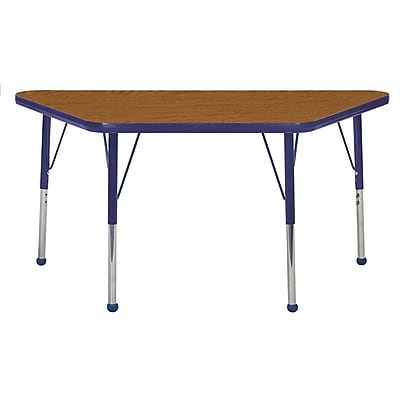 "24""x48"" Trapezoid T-Mold Activity Table, Oak/Navy/Standard Ball"