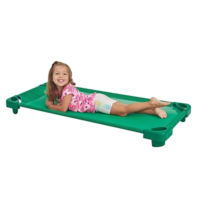 ECR4Kids Standard Stackable RTA Kiddie Cot- Green (ELR-16127-GN)