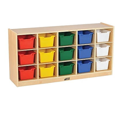ECR4Kids Birch 15 Cubby Tray Cabinet with Assorted Bins (ELR-17209-AS)