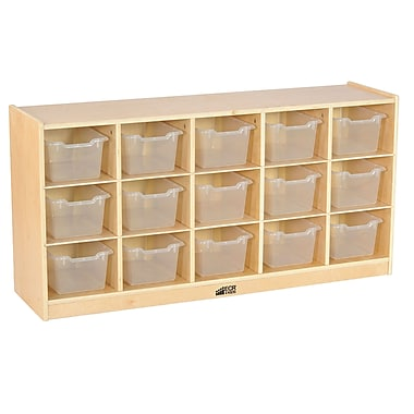 ECR4Kids Birch 15 Cubby Tray Cabinet with Clear Bins (ELR-17209-CL)