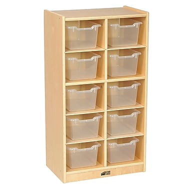 ECR4Kids Birch 10 Cubby Tray Cabinet with Clear Bins (ELR-17215-CL)