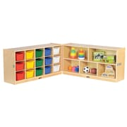 "ECR4Kids Fold and Lock 15 Tray Cabinet with 24"" Storage- AS (ELR-17216-AS)"