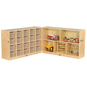 "ECR4Kids Fold and Lock 20 Tray Cabinet with 30"" Storage- CL (ELR-17217-CL)"