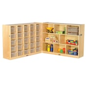 "ECR4Kids Fold and Lock 25 Tray Cabinet with 36"" Storage- CL (ELR-17218-CL)"