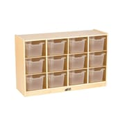 ECR4Kids Birch 12 Cubby Tray Cabinet with Clear Bins (ELR-17252-CL)