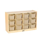 ECR4Kids Birch 12 Cubby Tray Cabinet with Sand Colored Bins (ELR-17252-SD)