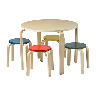 ECR4kids Wood Stools, Yellow/Red/Green/Blue (ELR-22201-AS)