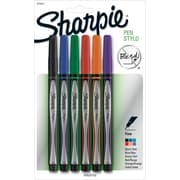 Sharpie® Permanent Plastic Tip Ink Pens, 0.5 mm Fine, Assorted Colors, 6/pk (1751690)
