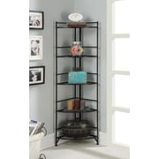 Convenience Concepts Designs2Go Media Towers 5 Tier Folding Metal Corner Shelf Black Finish (8021B)