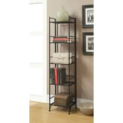 Convenience Concepts Designs2Go Media Towers 5 Tier Folding Metal Shelf Black Finish (8016B)