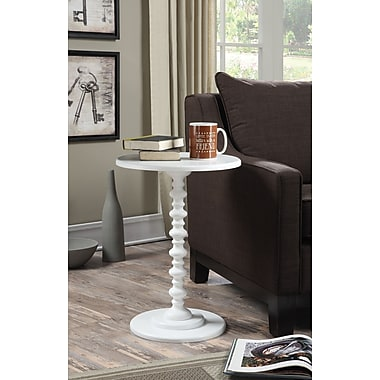 Convenience Concepts Spindle Wood Pedestal Table, White, Each (131355W)