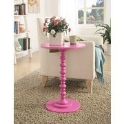 Convenience Concepts Spindle Wood Pedestal Table, Pink, Each (131355PK)
