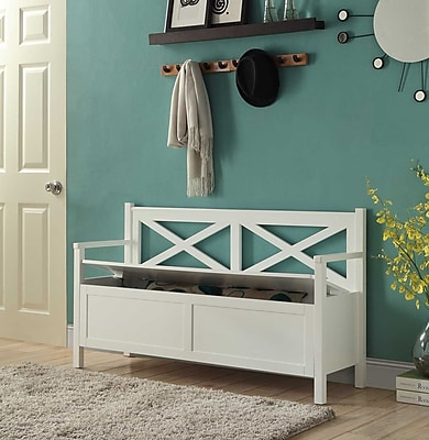 Convenience Concepts Oxford Storage Bench/Oxford Collection MDF,White
