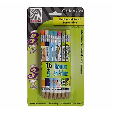 Cadoozles Mechanical Pencils Fun Design, 0.7mm Lead, 16/Pack