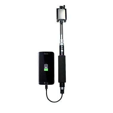 CTA Digital Bluetooth Selfie Stick with Built-In Power Bank, (SM-SBP)