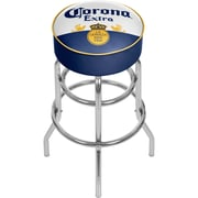 Corona Chrome Padded Bar Stool with Swivel - Label Design (CRN1000-LBL)
