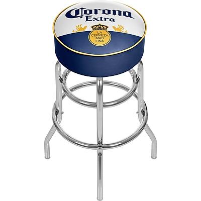 Corona Chrome Padded Bar Stool with Swivel - Label Design (CRN1000-LBL)