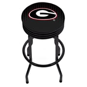 University of Georgia Black Ribbed Bar Stool - Reflection (GA1006-REF)
