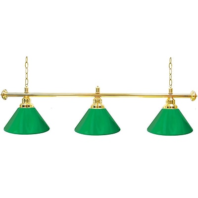 Premium 3 Shade Billiard Lamp Green and Gold (603G-GRN)