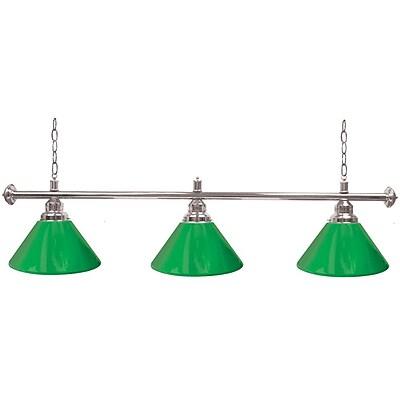 Premium 3 Shade Billiard Lamp Green and Silver (603S-GRN)