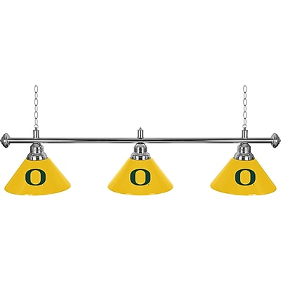University of Oregon 3 Shade Chrome Billiard Lamp (ORG603)