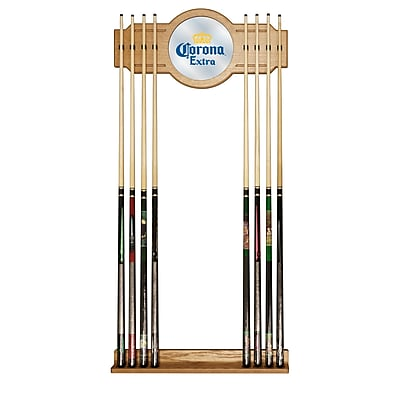 Corona Stained Wood Cue Rack with Mirror - Logo (CRN6000)