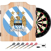 Premier League Manchester City Dart Cabinet Includes Darts and Board (EPL7000-MC)