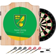 Premier League Norwich City Dart Cabinet includes Darts and Board (EPL7000-NC)