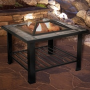 Pure Garden 30 inch Square Fire Pit and Table with Cover - Black