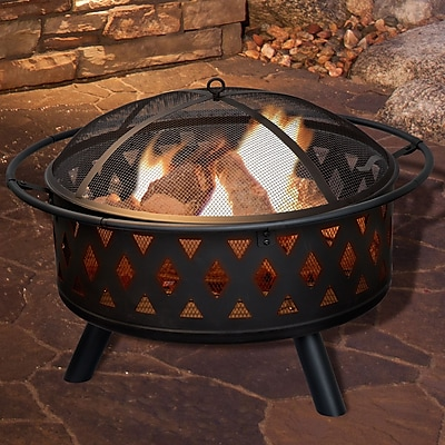Pure Garden 32 inch Round Crossweave Fire Pit with Cover - Black (M150017)