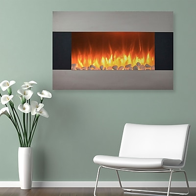 """Northwest 36"""" Stainless Electric Fireplace Wall Mount Floor Stand (80-421S)"""