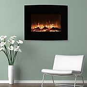 """Northwest 25"""" Mini Curved Black Fireplace with Wall and Floor Mount (80-455S)"""