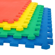 "Stalwart 4 Pack Interlocking EVA Foam Floor Mats Multi Color 24""x24""x0.50"" (M550029)"
