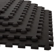 "Stalwart 6 Pack Interlocking EVA Foam Floor Mats Black 24""x24""x0.50"" (M550030)"
