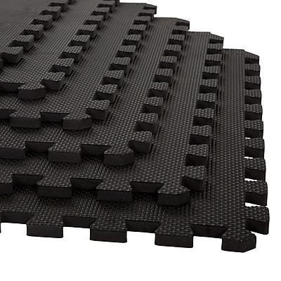 Stalwart 6 Pack Interlocking EVA Foam Floor Mats Black 24