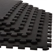 "Stalwart 6 Pack Interlocking EVA Foam Floor Mats Black 24""x24""x0.375"" (M550032)"