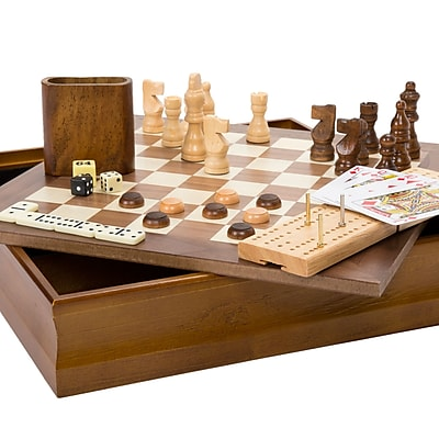 Hey! Play! 7-in-1 Classic Combo Game - Chess-Checkers-Cribbage & More (M350002)