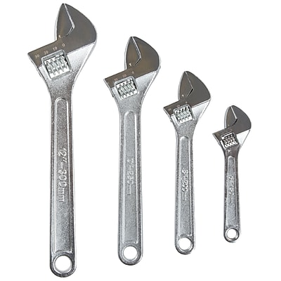 Stalwart 4 PC Adjustable Wrench Set with Storage Pouch