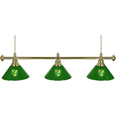 Premier League Norwich City 3 Shade Brass Bar Lamp