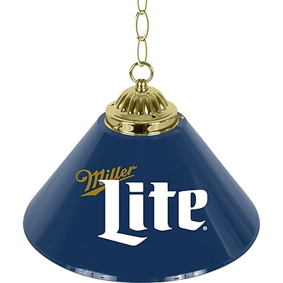 Miller Lite Retro Logo Single Shade Brass Bar Lamp - 14 inch (ML1200-R)