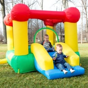 Hey! Play! Inflatable Castle Bounce House with Slide and Hoop (M420004)