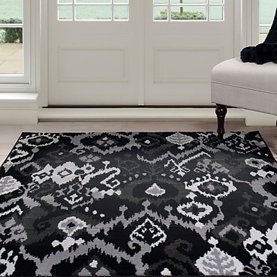 Lavish Home Ikat Area Rug 8'x10' - Black & Grey (62-06-810)