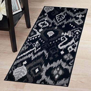 Lavish Home Ikat Rug - Black & Grey - 1'8