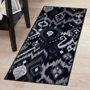 """Lavish Home Ikat Rug - Black & Grey - 1'8""""x5' (62-06-187)"""