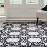 "Lavish Home Royal Damask Area Rug - Black - 5'x7'7"" (62-11-HAB)"